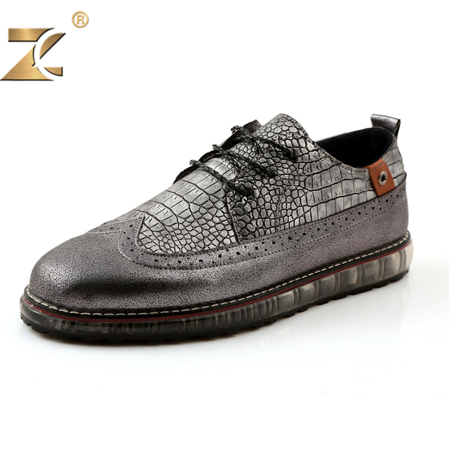 Z 2017 Fashion Brand Famous Designer Retro Bullock Snakeskin pattern Leather Men Casual Shoe European Style Durable Lace-up Shoe