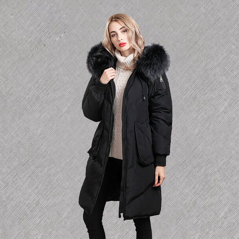Large Real Fur Collar 2018 Long Parka White Duck   Down   Jacket Thick Warm Hooded Female   Coat   Winter Jacket Women Loose   Down     Coat