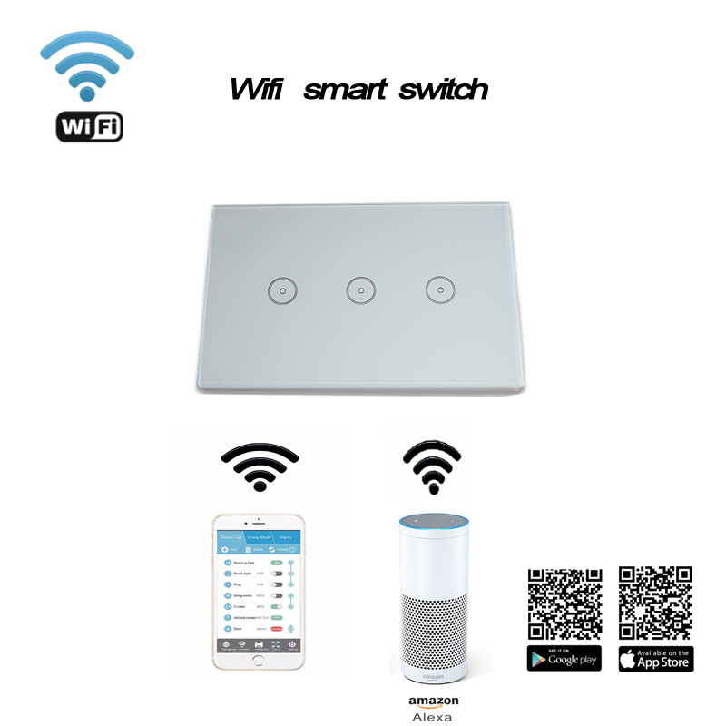 Work with Amazon Alexa Wall Switch  Smart Wi-Fi Switch Glass Panel smart mobile control via App 3gang US Touch Light wall 2017 smart home crystal glass panel wall switch wireless remote light switch us 1 gang wall light touch switch with controller