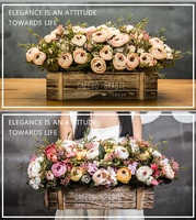 20 American Styles Artificial Flower plants Wooden Palisade Decoration Flower For Living Room Balcony