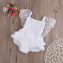 font b Baby b font Girl Clothes Lace Floral Bodysuit Sunsuit Outfits Lovely White Lace
