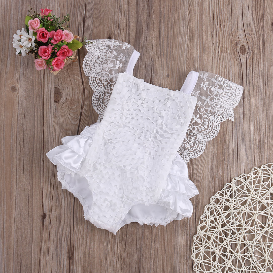 Baby Girl Clothes Lace Floral Bodysuit Sunsuit Outfits Lovely White Lace Baby Bodysuits 0-18 Months for Birthday Party Bodysuits black stitching floral lace self tie front long sleeves bodysuit