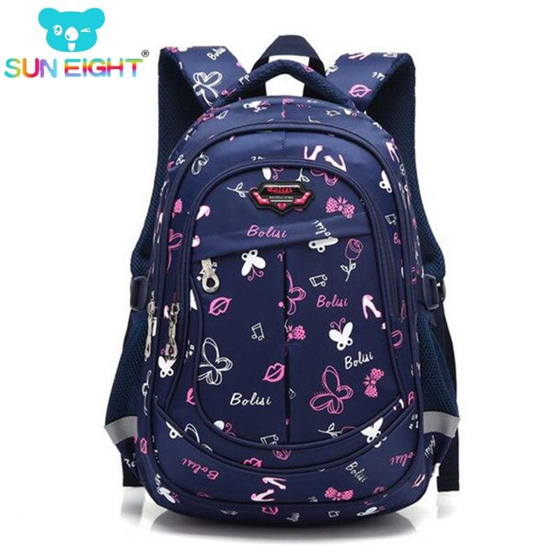 Солнце восемь бабочка печати супер большой Ёмкость девочек Школьный рюкзак Красивая Shouler сумки для малыша школьные сумки черный