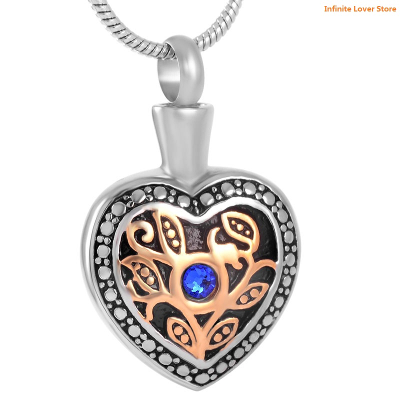 цена на KLH8674-9 Cheape Price Wholesale Cremation Jewelry Blue Crystal Marigold Heart Urn Pendant Necklace for Ashes or Memorial