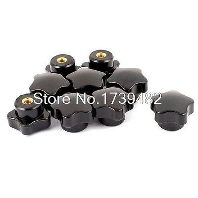 цена на New Replacement 6mm Dia Female Thread Plastic Grip Nuts Head Knurled Knobs