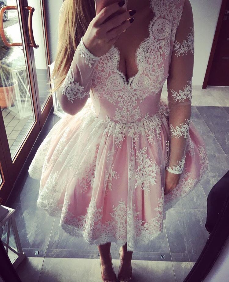 Cute Pink Embroidery Lace Ball Gown Short   Cocktail     Dresses   2019 V-neck Pink Party   Dresses   Prom Gowns robe de soriee