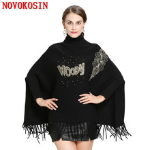 SC220 Women High Neck Cape Patchwork Applique Loose Poncho 2018 Winter Knitted Bat Sleeves Sweater Triangle Tassel Pullover Coat black chiffon loose bat sleeves cape shawl top