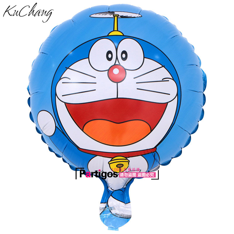 50pcs 18inch Round Shape cute Pokonyan robotic hero cat Doraemon shape foil Balloons Birthday party decoration kids toys globos