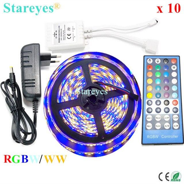 10 Sets RGBW RGBWW SMD 5050 5M Waterproof LED Strip flashlight RGB + White Tape + 40 key Remoter Controller +3A Power Adapter