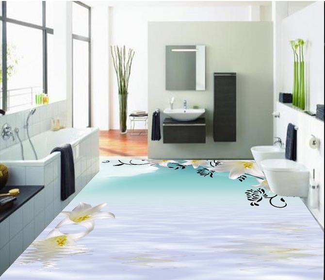3d wallpaper waterproof flowers 3d floor 3d pvc wallpaper - Waterproof floor paint for bathrooms ...
