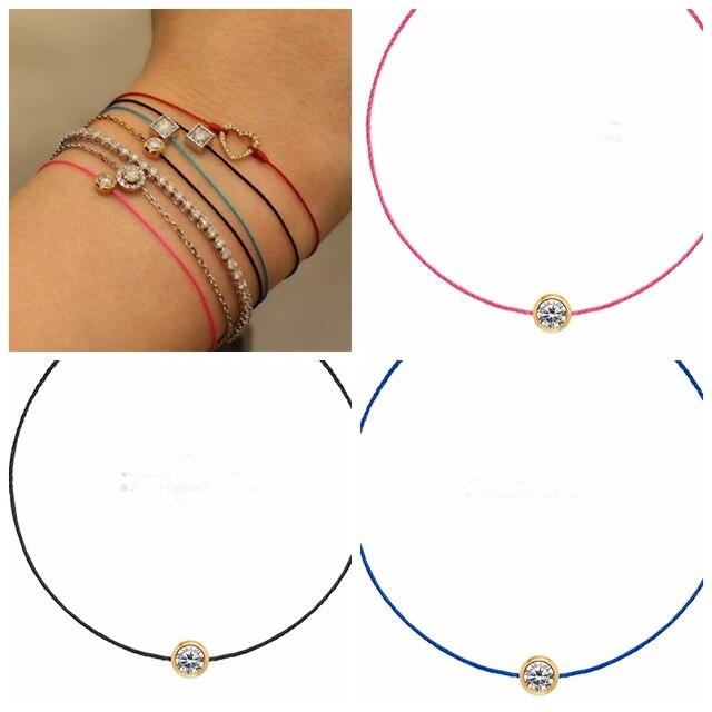 Aliexpress Fashion Jewelry Simple Design Bracelet Femme Colourful Redline Rope Cord Crystal Beads Friendship Bracelets For