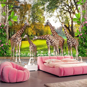 beibehang Custom photo wallpaper mural animal world giraffe home and forest children stereo 3D background wall papers home decor green plant forest 3d stereo tv background wall professional production mural custom photo wall