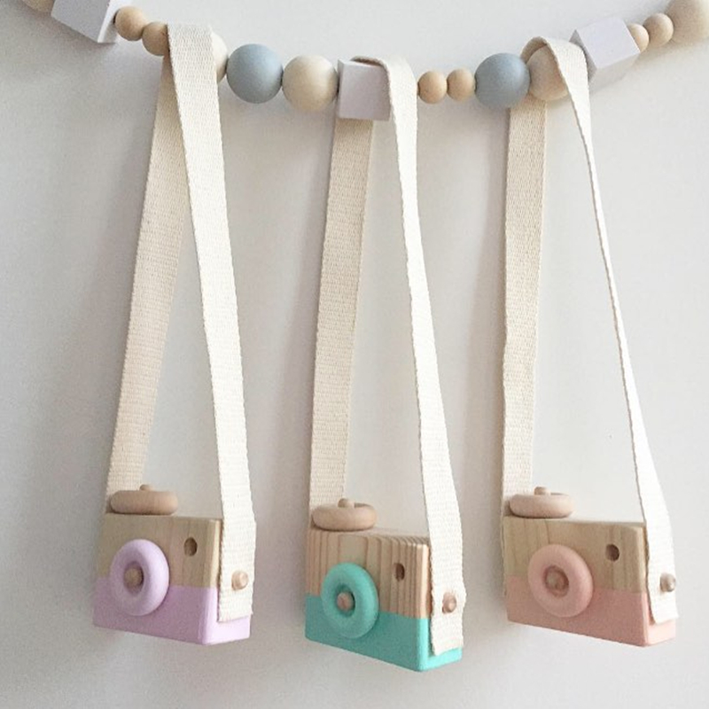 Lovely Cute <font><b>Wooden</b></font> Cameras Toys For Baby Kids Room Decor Furnishing Articles Child Birthday Gifts Nordic European Style 6 Colors