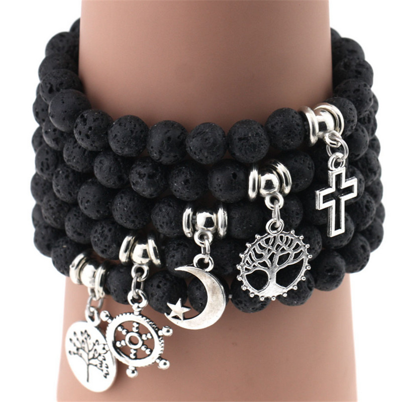Silver Elastic Men Natural Stone Bracelet Beads Anchor Buddha Pendant Bracelets Volcanic Rock Women Stretch Jewelry Gift