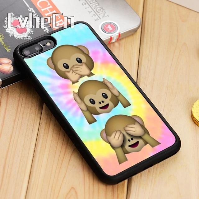 c79785c025a LvheCn Tie Dye Emojis Monkey teléfono funda para el iPhone 5 5S SE 5C 6 6  ...