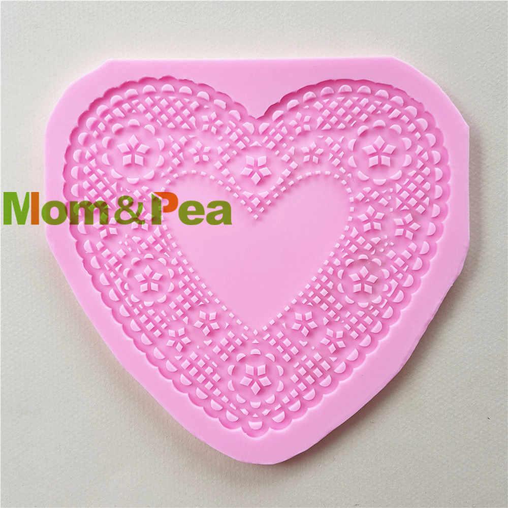 Mom & Erwt 1154 Gratis Verzending Kant Hartvormige Silicone Mold Cake Decoratie Fondant Cake 3D Mold Food Grade Roze