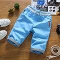 Estilo de verano 2016 hombres REINO UNIDO Bandera Bordado Pantalones Cortos de Algodón Pantalones Cortos de Los Hombres Hasta La Rodilla Boardshorts Hombre Slim Fit Colorful