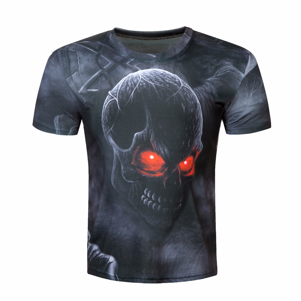 Ling Bultez New 3D Printed Fire Ghost T shirts Fitness BodyBuilding Clothing Men Compression Shirts NEW Crossfit Tops For Male