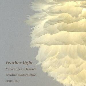 Image 3 - לופט מודרני לבן טבע אווז נוצת תליון אורות רומנטי E27 led תליון מנורות לבית מסעדת חדר שינה סלון