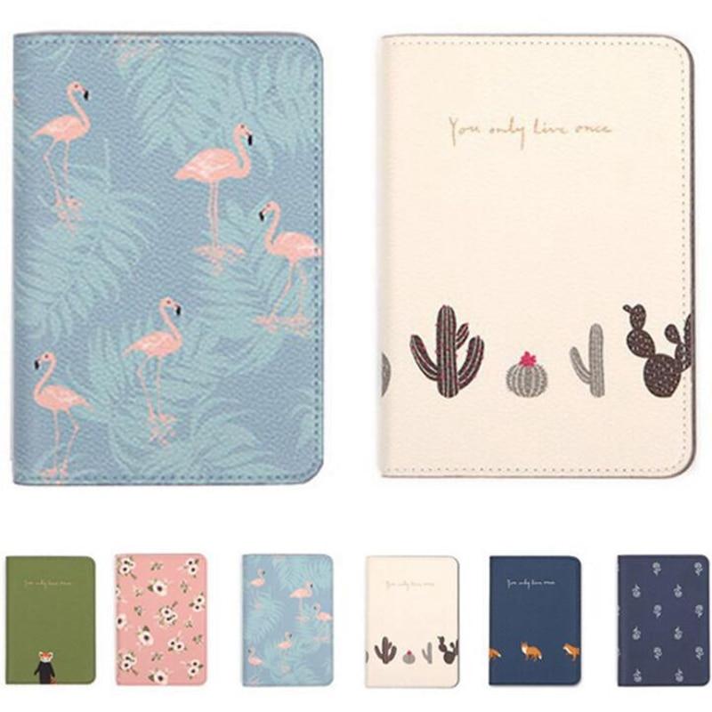 Cartoon Flamingo Passport Holders Covers Creative Travel Accessories PU Leather ID Bank Card Bag Women Passport Business Case