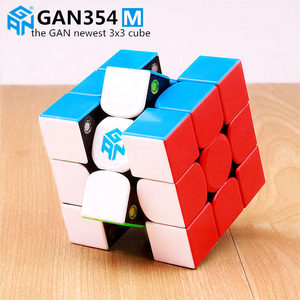 Gan 354 M Magnetic puzzle magic speed cube 3x3 sticker less professional Gan354 M magnets speed cube GAN354M toys for kid(China)