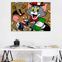 Monopolyingly Tom And Jerry Canvas Painting Print Living Room Home Decoration Modern Wall Art Oil Poster Salon Pictures