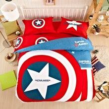 Capitán América de dibujos animados ropa de cama doona duvet cover set cubierta de colchón de algodón/fundas hoja plana 4 unid/3 unid twin queen rey
