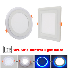 Double Color LED Panel Light 6W 9W 16W 24W Round Square Panel LED Ceiling Lamp AC110V 220V Indoor Recessed Downlight 1pc black surface mounted led panel light bulb 6w 9w 12w 18w 24w round square led ceiling lamp lights led downlight ac110v 220v