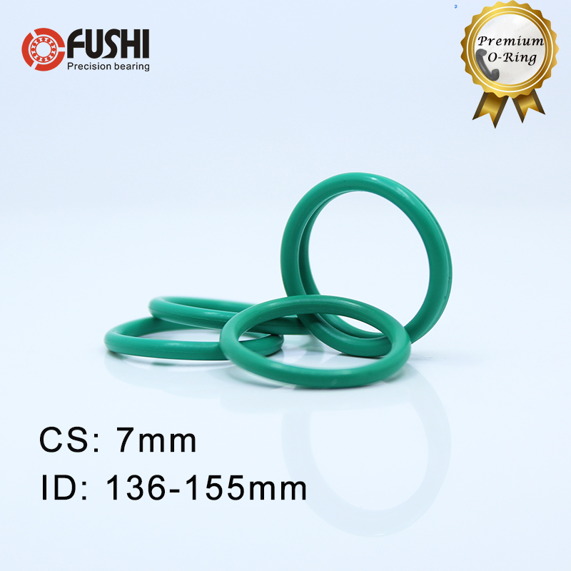 CS7mm FKM Viton Rubber O RING ID 136/140/145/150/155*7 mm 5PCS O-Ring Fluorine Gasket Oil seal Green ORingCS7mm FKM Viton Rubber O RING ID 136/140/145/150/155*7 mm 5PCS O-Ring Fluorine Gasket Oil seal Green ORing