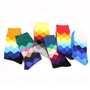 Image 3 - 10Pair wygodne skarpety uciskowe 3D śmieszne skarpetki kolorowe dla człowieka mężczyzna geometria Calcetines Hombre skarpety artystyczne Meias Homens