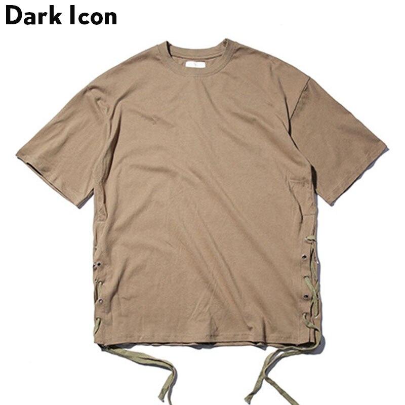 Solid Color Side String Hip Hop Tshirt Men 2017 Summer Streetwear Blank Men S T Shirt