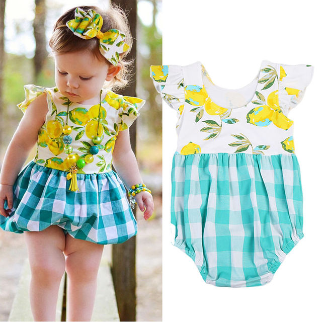 a79400eebf2 Toddler Kids Baby Girls yellow palid Plaid Bodysuit outfit print summer  kids Jumpsuit flutter sleeve sunsuit Clothes