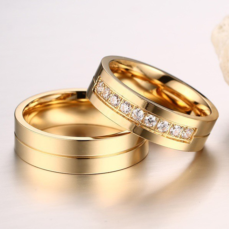 image mens besttohave couple set jewellery matching hers gold meteorite tungsten and rings his inlay wedding tone