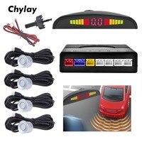Led Parking Sensor with 4 sensors Car Auto Parktronic Radar Monitor Car Detector System Backlight Led Display White Silver|Parking Sensors| |  -