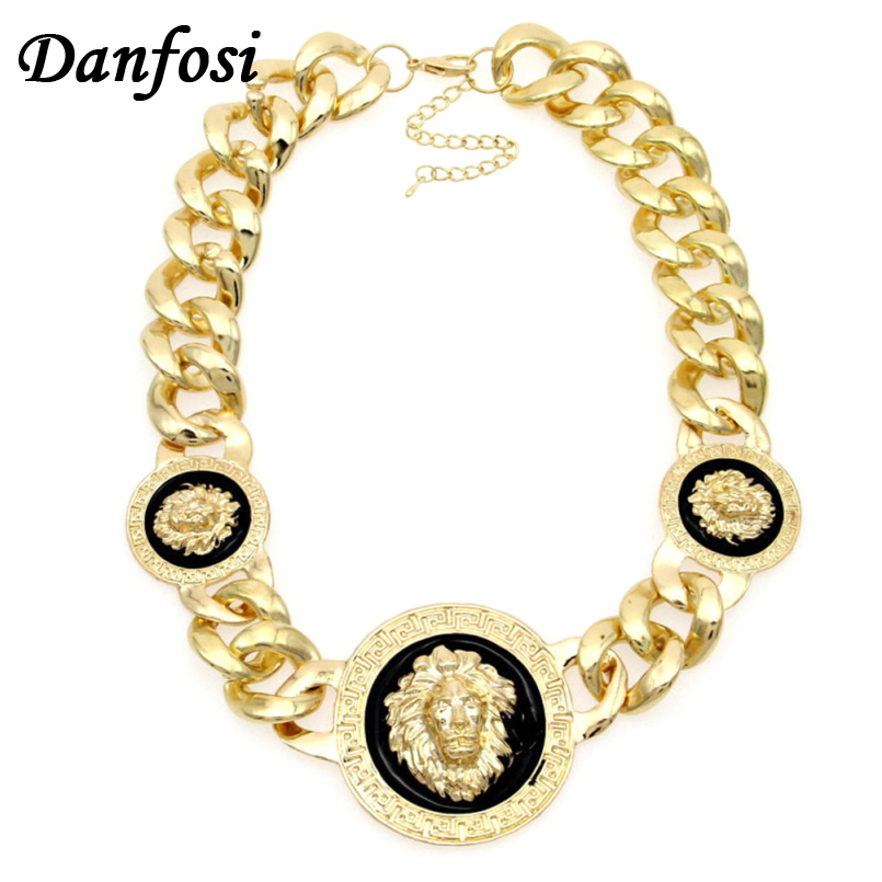 Danfosi Gold Color Lion Head Pendant Chunky Chain Necklace Statement Jewelry Fashion Women Accessories Collar Maxi Choker N1334