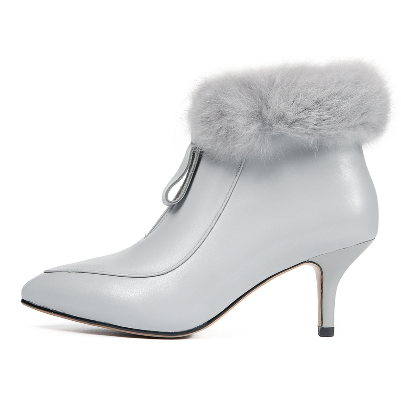 ENMAYER Women Ankle boot short boots women pointed toe zipper thin heel ankle boots lady solid fur botas mujer Size 34 39 CR1714 in Ankle Boots from Shoes
