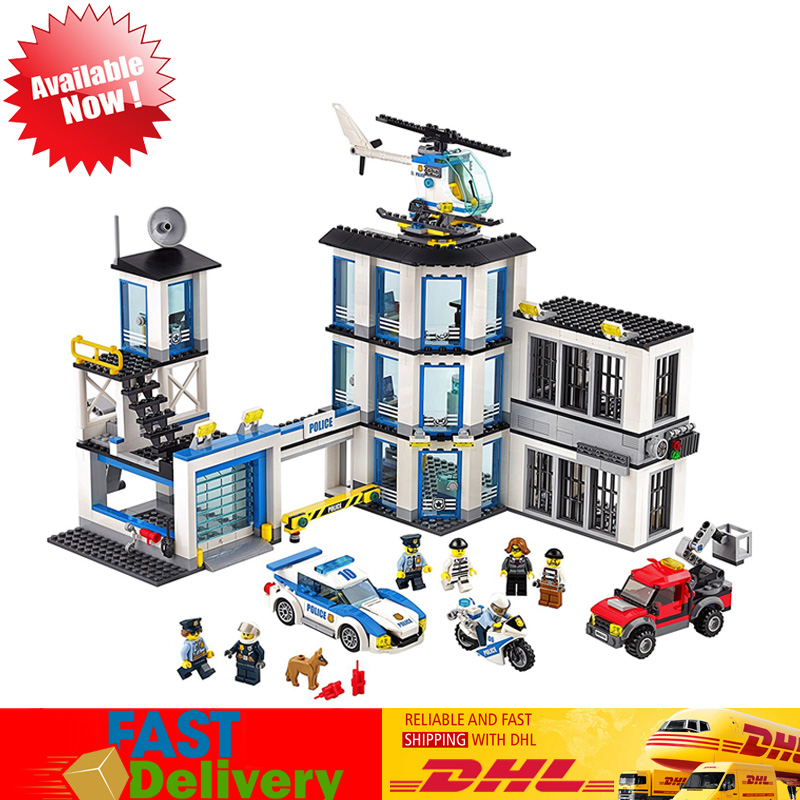 Lepin 02020 965Pcs The New City Police Station Model Building Blocks Bricks Kids Toy Christmas Gift Compatible LegoINGlys 60141