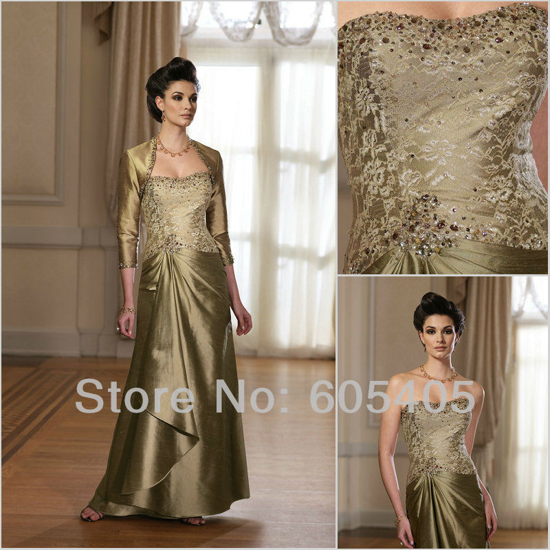 Free Shipping Robe De Soiree 2016 New Sleeves Gold Vestido De Festa Party Gown Long Mother Of The Bride Dresses With Jacket