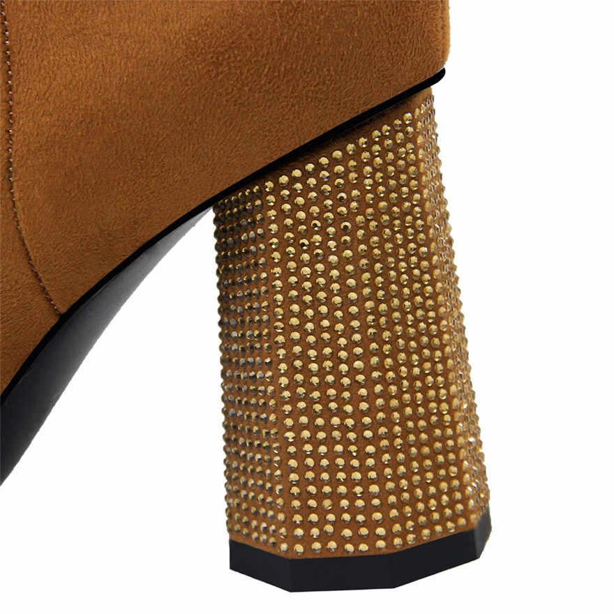 BIGTREE Sivri burun Kristal Topuk kadın kısa çizmeler Katı Akın Moda Fermuar Kadın Yüksek Topuklu 9 cm Çizmeler Kış Ofis çizmeler