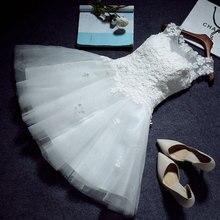 فستان قصير مكشوف الأكتاف باللون الأبيض من الدانتيل لفتاة حريمي للأميرة لوصيفة العروس للحفلات