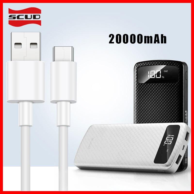 Scud batterie externe 20000 mAh + 2 M câble micro-USB avec LED affichage numérique powerbank pour Xiaomi Huawei LG Samsung téléphone Android