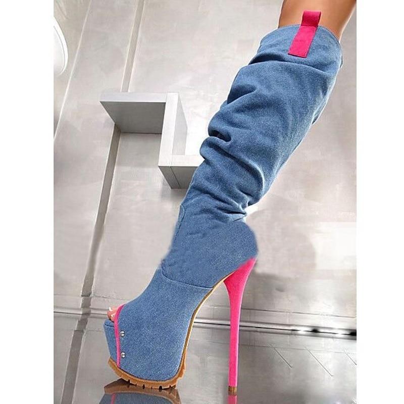 Peep 2018 Venta Rodilla Corte As Las Calidad Ultra Toe Botas Con Alta Para De Tacones Mujeres Denim Plataforma Caliente Picture Slim Cuadros rBOnwqrZt