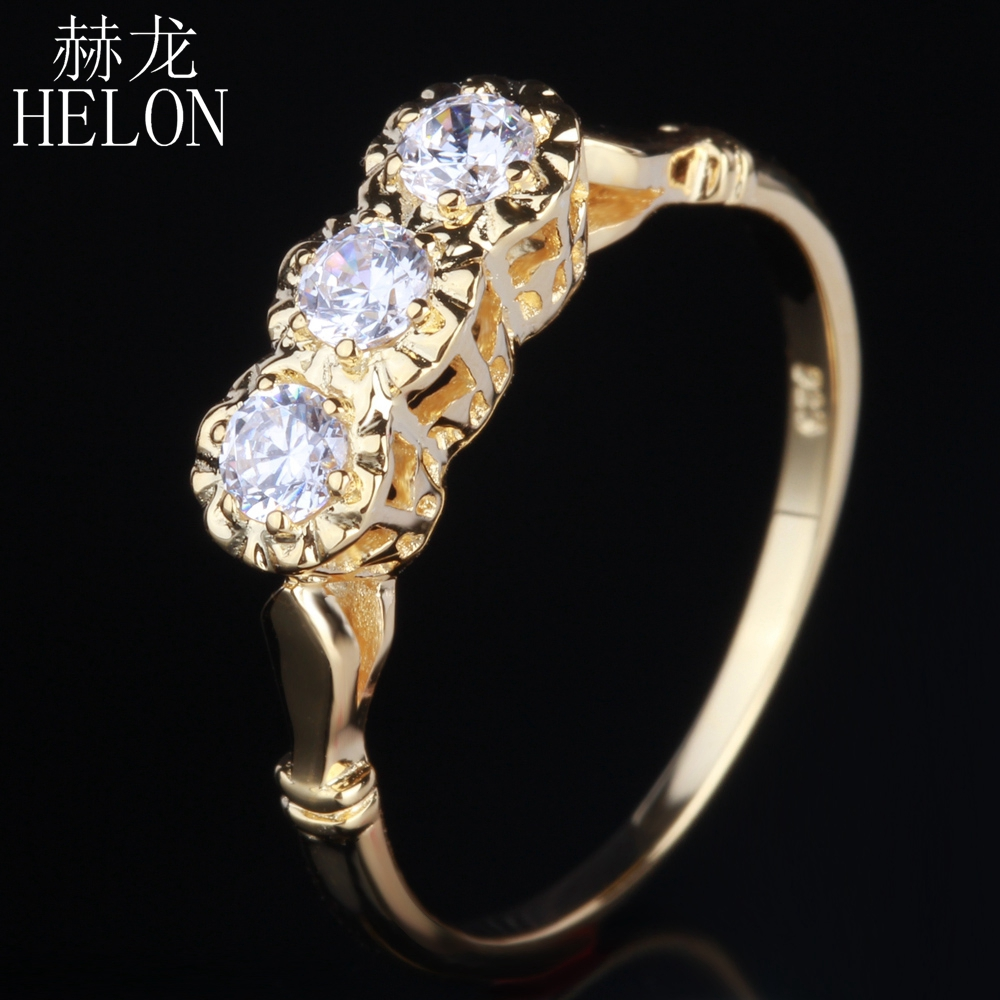HELON Women Exquisite Jewelry Solid 14K Yellow Gold 3mm Round Three Stone Lab Grown Diamond Moissanites Engagement Wedding Ring aeaw lab grown diamond moissanites engagement bangle solid 10k white gold bracelets for women wedding fine jewelry