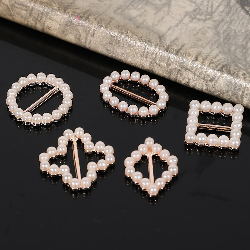 50 pcs Pearls Round Buckle Invitation Ribbon Slider Wedding Supply 24mm