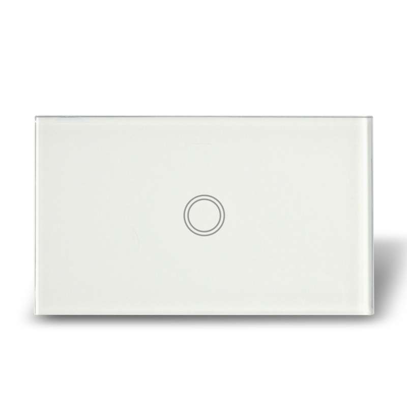 US Model Touch Glass Switch Panel Single Gang Touch Wall Light Switch with blue LED backlight, AC110-240V, Free Shipping smart home us au wall touch switch white crystal glass panel 1 gang 1 way power light wall touch switch used for led waterproof