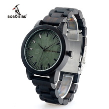 BOBO BIRD M04 Ebony Watches Men Green Wooden Dial Ebony Strap Vintage Style Watch Erkek Quartz Clock in Box Uomo Orologio