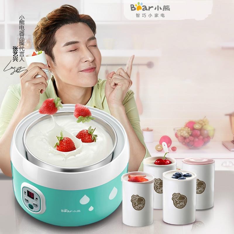Bear Electric Automatic Yogurt Maker Machine 20W 4 Ceramic Cups Stainless Steel Natto Maker Machine Kitchen Appliances