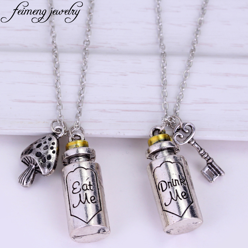 Movie Alice in Wonderland Necklace Eat Me Drink Me Statement Necklace Key Mushroom Bottle Pendant Jewelry For Women Fashion Gift