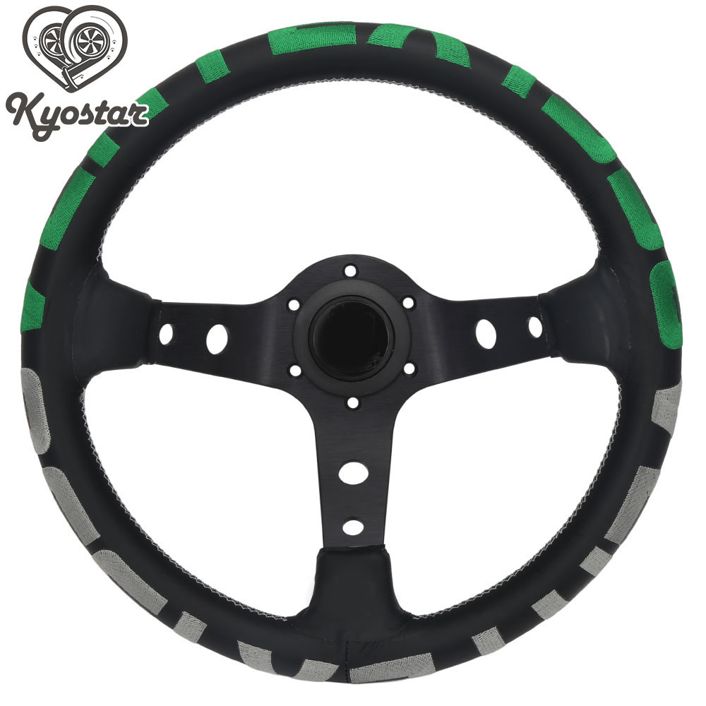 Univerdal 13 inch race car steering wheel green gray deep corn 340mm with black spoke leather