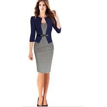 Wholesale Autumn Style Women Faux Two Piece Dress Elegant Pl